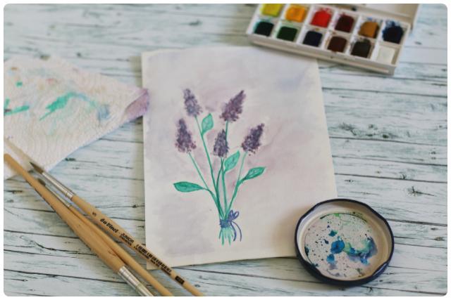 Aquarell-Lavendel