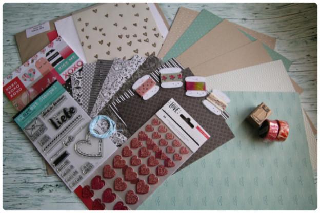 Danipeuss Karten-Kit Februar 2016 | Washitape-Samples & Rollen | nochmehr Papier + Stempel