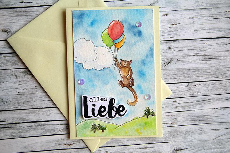 Geburtstagskarte Ballon-Katze